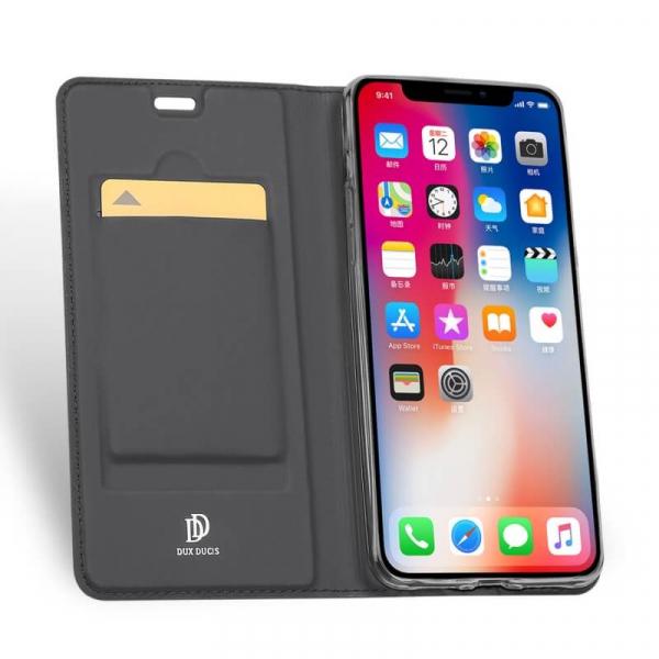 Husa iPhone XR 2018 Toc Flip Tip Carte Portofel Negru Piele Eco Premium DuxDucis 1