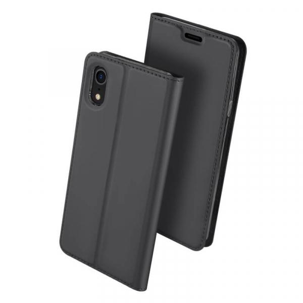 Husa iPhone XR 2018 Toc Flip Tip Carte Portofel Negru Piele Eco Premium DuxDucis 0