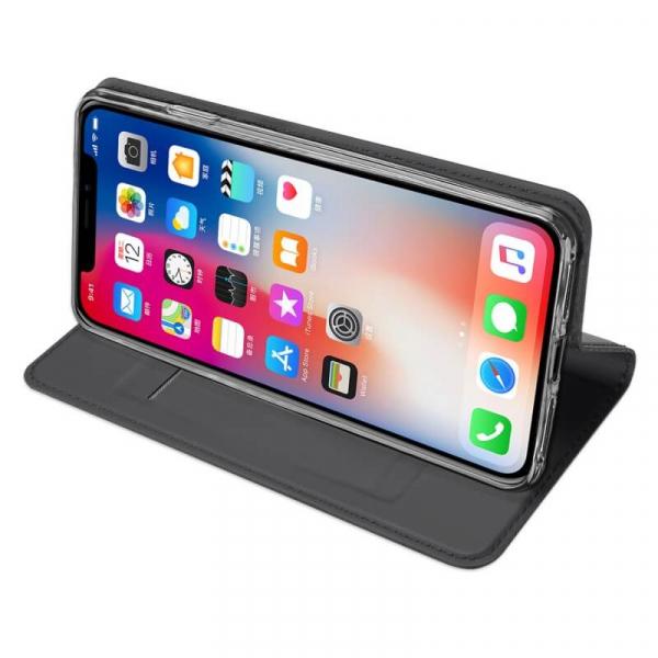 Husa iPhone XR 2018 Toc Flip Tip Carte Portofel Negru Piele Eco Premium DuxDucis 2