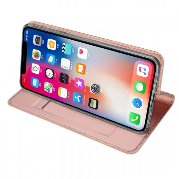 Husa iPhone XR 2018 Toc Flip Tip Carte Portofel Roz Piele Eco Premium DuxDucis 2
