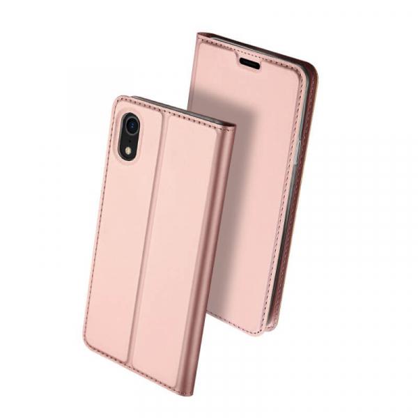 Husa iPhone XR 2018 Toc Flip Tip Carte Portofel Roz Piele Eco Premium DuxDucis 0