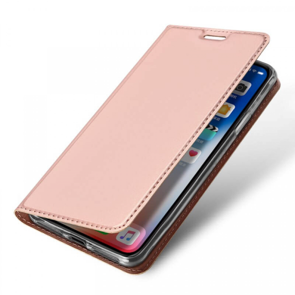 Husa iPhone XR 2018 Toc Flip Tip Carte Portofel Roz Piele Eco Premium DuxDucis 3