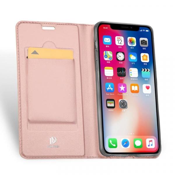Husa iPhone XR 2018 Toc Flip Tip Carte Portofel Roz Piele Eco Premium DuxDucis 1