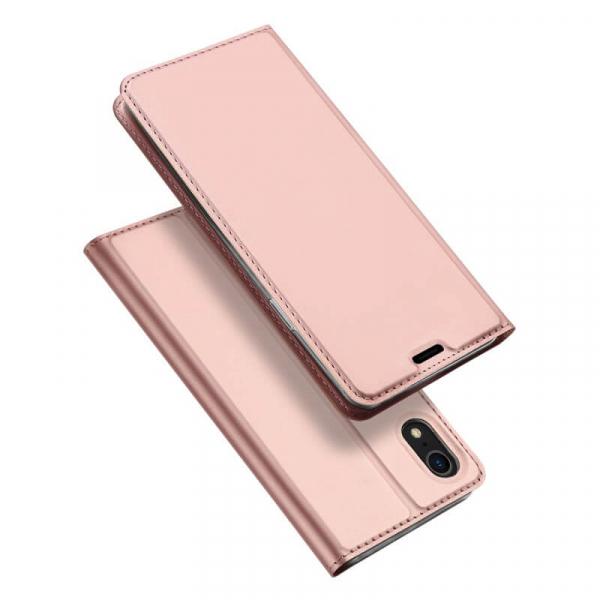 Husa iPhone XR 2018 Toc Flip Tip Carte Portofel Roz Piele Eco Premium DuxDucis 4