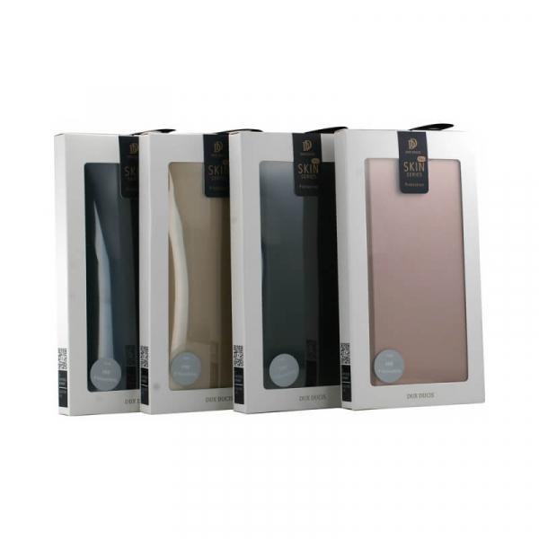 Husa iPhone XR 2018 Toc Flip Tip Carte Portofel Roz Piele Eco Premium DuxDucis 5