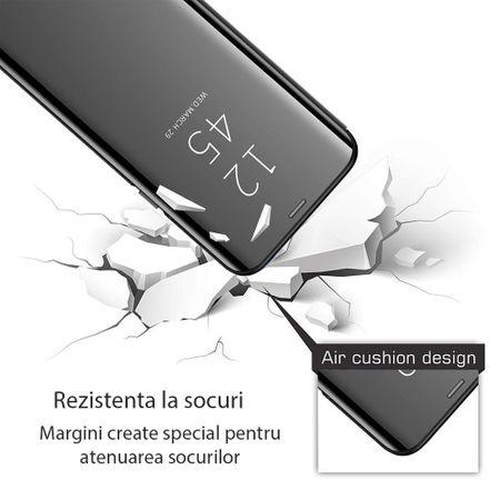 Husa iPhone Xr / iPhone 9 Clear View Flip Standing Cover (Oglinda) Negru (Black) 2
