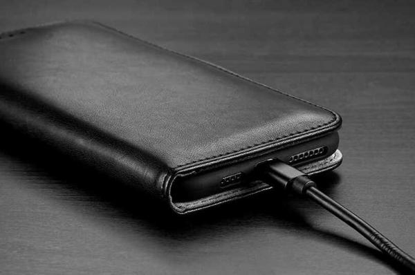 Husa iPhone XR Toc Flip Tip Carte Portofel Negru Piele Eco Premium DuxDucis Kado 4