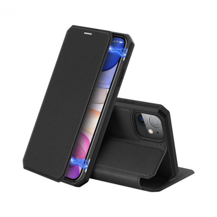 Husa iPhone XR Toc Flip Tip Carte Portofel Negru Piele Eco X-Skin [0]