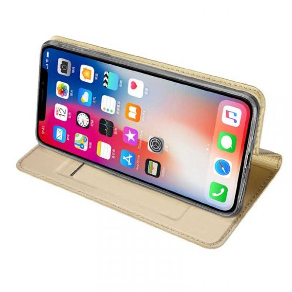 Husa iPhone Xs Max 2018 Toc Flip Tip Carte Portofel Auriu Gold Piele Eco Premium DuxDucis [2]