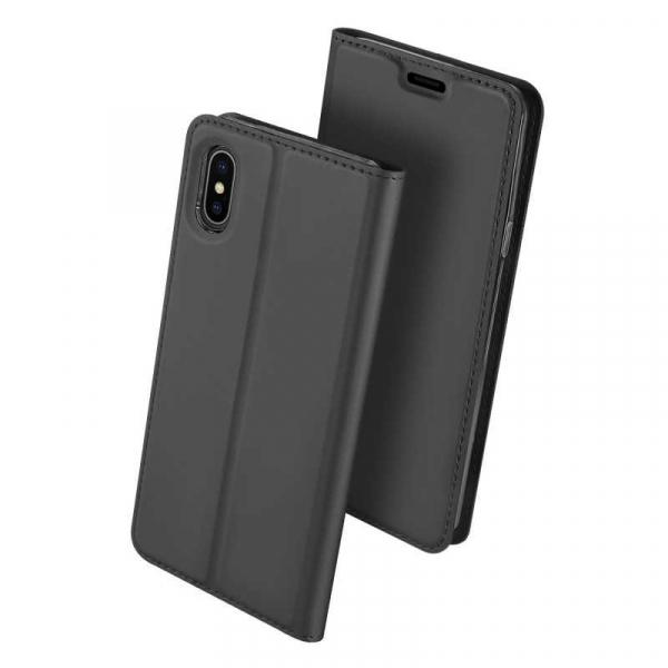 Husa iPhone Xs Max 2018 Toc Flip Tip Carte Portofel Negru Piele Eco Premium DuxDucis [0]