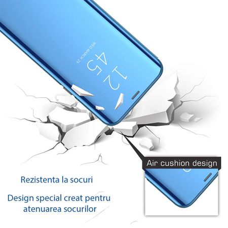 Husa iPhone Xs Max Clear View Flip Standing Cover (Oglinda) Albastru (Blue) 1