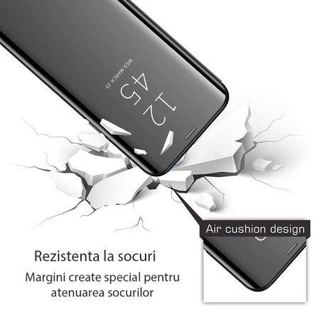 Husa iPhone Xs Max Clear View Flip Standing Cover (Oglinda) Negru (Black) 2