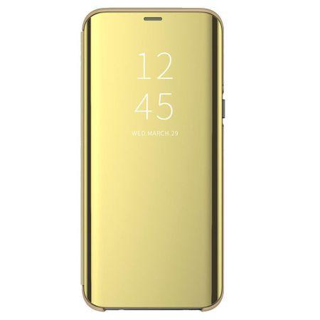 Husa iPhone Xs Max Clear View Flip Standing Cover (Oglinda) Auriu (Gold) 0