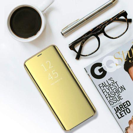 Husa iPhone Xs Max Clear View Flip Standing Cover (Oglinda) Auriu (Gold) 3