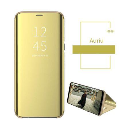 Husa iPhone Xs Max Clear View Flip Standing Cover (Oglinda) Auriu (Gold) 1