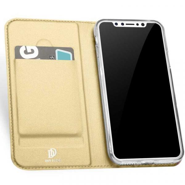 Husa iPhone XS Toc Flip Tip Carte Portofel Auriu Gold Piele Eco Premium DuxDucis 1