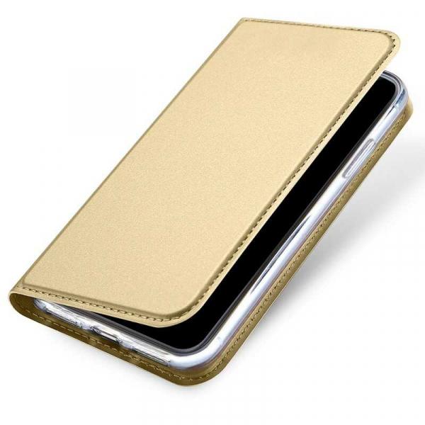 Husa iPhone XS Toc Flip Tip Carte Portofel Auriu Gold Piele Eco Premium DuxDucis 3
