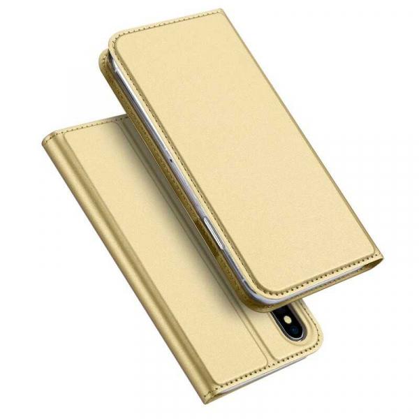 Husa iPhone XS Toc Flip Tip Carte Portofel Auriu Gold Piele Eco Premium DuxDucis 4