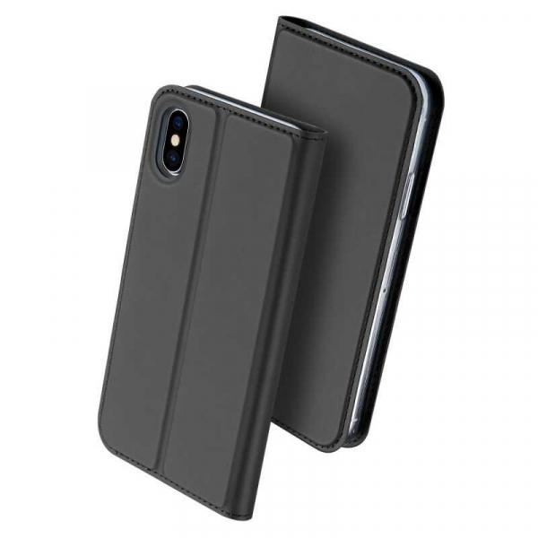 Husa iPhone XS Toc Flip Tip Carte Portofel Negru Piele Eco Premium DuxDucis [0]