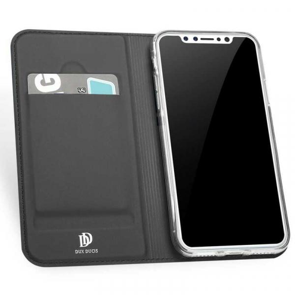 Husa iPhone XS Toc Flip Tip Carte Portofel Negru Piele Eco Premium DuxDucis [1]