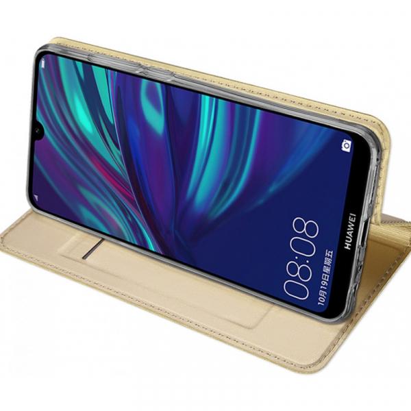 Husa Portofel Huawei Y7 2019 Piele Eco Premium  DuxDucis - Auriu Gold 3