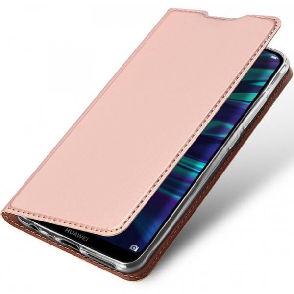 Husa Portofel Huawei Y7 2019 Piele Eco Premium  DuxDucis - Roz Rose Gold 2
