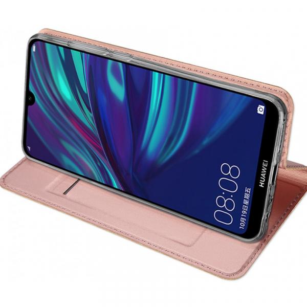Husa Portofel Huawei Y7 2019 Piele Eco Premium  DuxDucis - Roz Rose Gold 3
