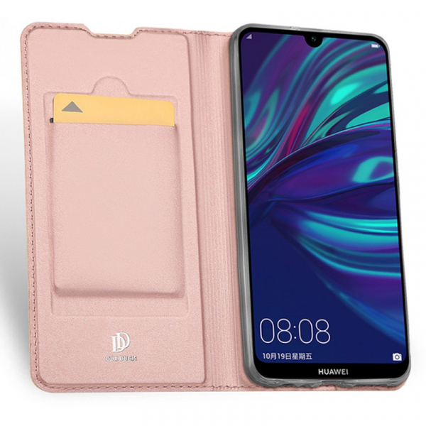 Husa Portofel Huawei Y7 2019 Piele Eco Premium  DuxDucis - Roz Rose Gold 4