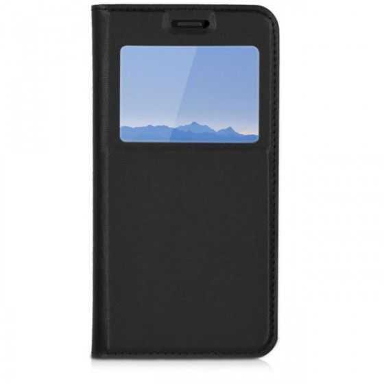 Husa Samsung A6 Plus 2018 Neagra Portofel cu Fereastra Carte Flip Book cu Inchidere Magnetica 0