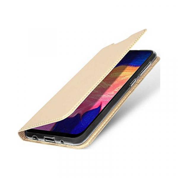 Husa Samsung Galaxy A10 2019 Auriu Piele Eco Toc Tip Carte Portofel Premium DuxDucis 1