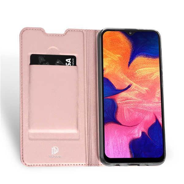 Husa Samsung Galaxy A10 2019 Roz Piele Eco Toc Tip Carte Portofel Premium DuxDucis 1