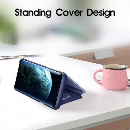 Husa Samsung Galaxy A10 Clear View Flip Toc Portofel Standing Cover (Oglinda) Albastru 4