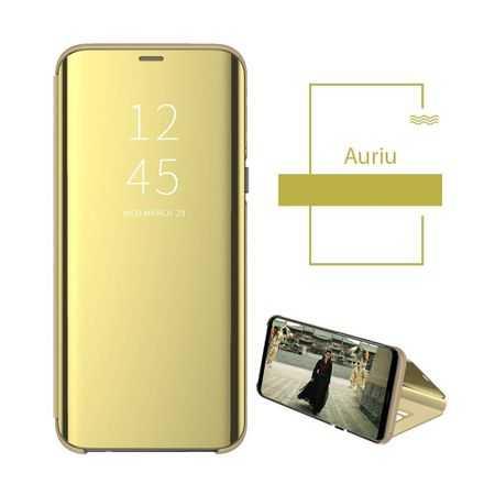 Husa Samsung Galaxy A10 Clear View Flip Toc Portofel Standing Cover (Oglinda) Auriu Gold 2