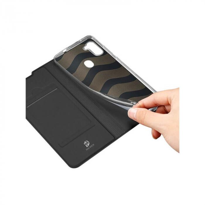 Husa Samsung Galaxy A11 2020 Toc Flip Tip Carte Portofel Negru Piele Eco Premium DuxDucis 2