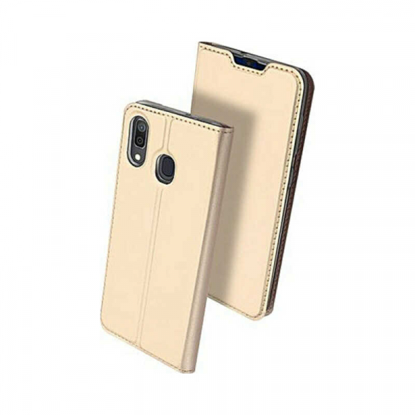 Husa Samsung Galaxy A20 2019 Toc Flip Portofel Auriu Gold Piele Eco DuxDucis [0]