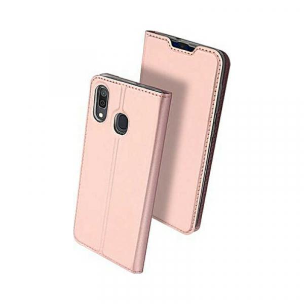 Husa Samsung Galaxy A20 2019 Toc Flip Portofel Roz Piele Eco DuxDucis [0]