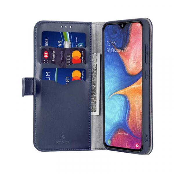Husa Samsung Galaxy A20 E 2019 Toc Flip Tip Carte Portofel Albastru Piele Eco Premium DuxDucis Kado 1