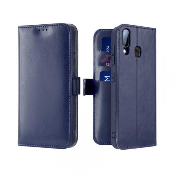 Husa Samsung Galaxy A20 E 2019 Toc Flip Tip Carte Portofel Albastru Piele Eco Premium DuxDucis Kado 0