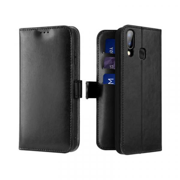 Husa Samsung Galaxy A20 E 2019 Toc Flip Tip Carte Portofel Negru Piele Eco Premium DuxDucis Kado [0]