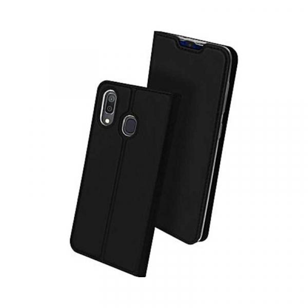 Husa Samsung Galaxy A20E 2019 Negru Piele Eco Toc Tip Carte Portofel Premium DuxDucis [0]