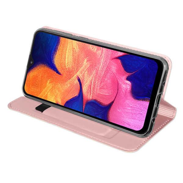 Husa Samsung Galaxy A20E 2019 Roz Piele Eco Toc Tip Carte Portofel Premium DuxDucis 3