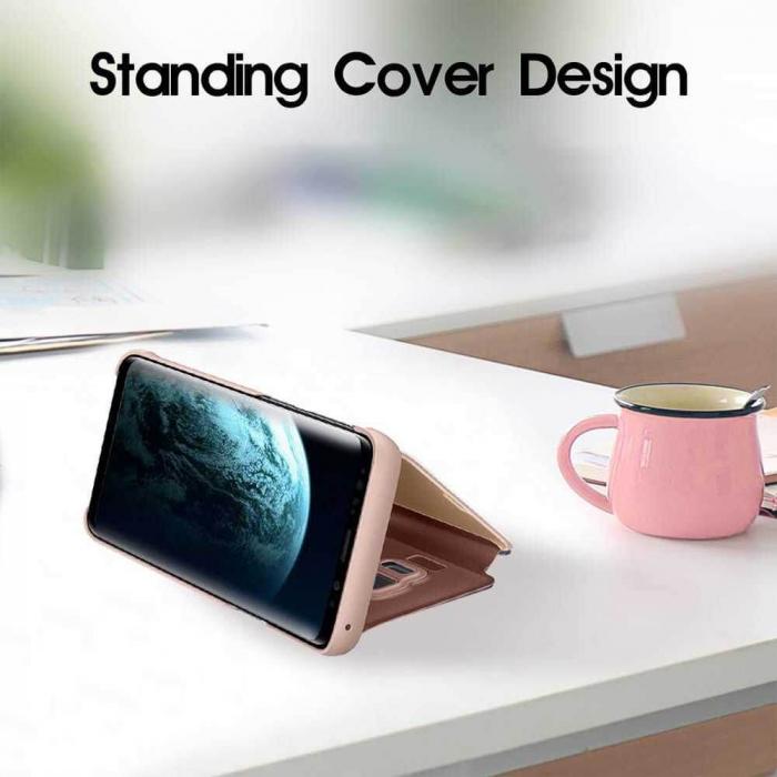 Husa Samsung Galaxy A21s Clear View Flip Cover Roz [3]