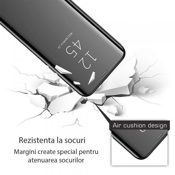 Husa Samsung Galaxy A30 2019 Clear View Flip Standing Cover (Oglinda) Negru 2