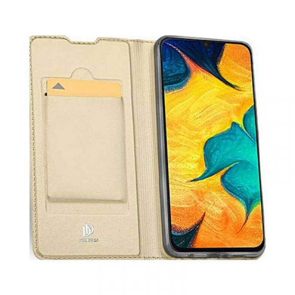 Husa Samsung Galaxy A30 2019 Toc Flip Portofel Auriu Gold Piele Eco DuxDucis 1