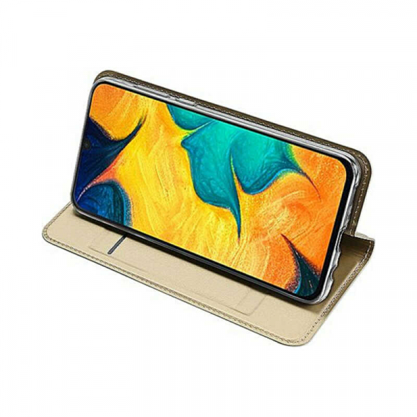 Husa Samsung Galaxy A30 2019 Toc Flip Portofel Auriu Gold Piele Eco DuxDucis 2