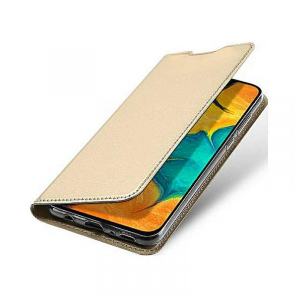 Husa Samsung Galaxy A30 2019 Toc Flip Portofel Auriu Gold Piele Eco DuxDucis 3
