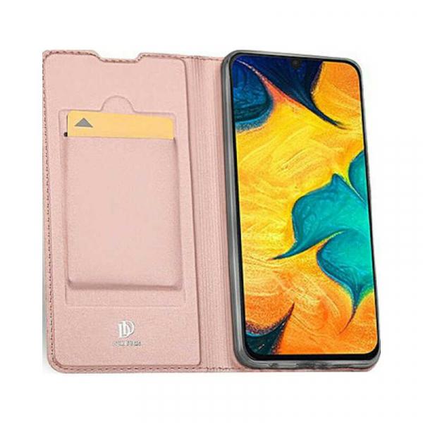Husa Samsung Galaxy A30 2019 Toc Flip Portofel Roz Piele Eco DuxDucis 1