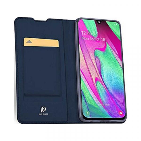 Husa Samsung Galaxy A40 2019 Albastru Inchis Toc Piele Eco Premium DuxDucis Portofel Flip Cover Magnetic 2