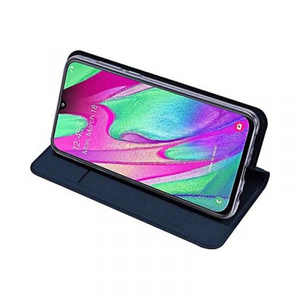 Husa Samsung Galaxy A40 2019 Albastru Inchis Toc Piele Eco Premium DuxDucis Portofel Flip Cover Magnetic 3