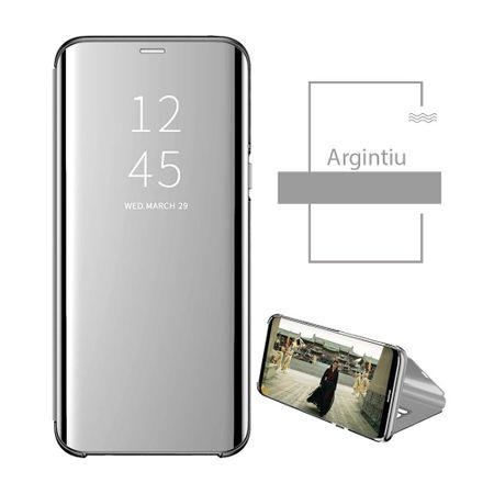 Husa Samsung Galaxy A40 2019 Clear View Argintiu Flip Standing Cover ( Oglinda ) Silver 1